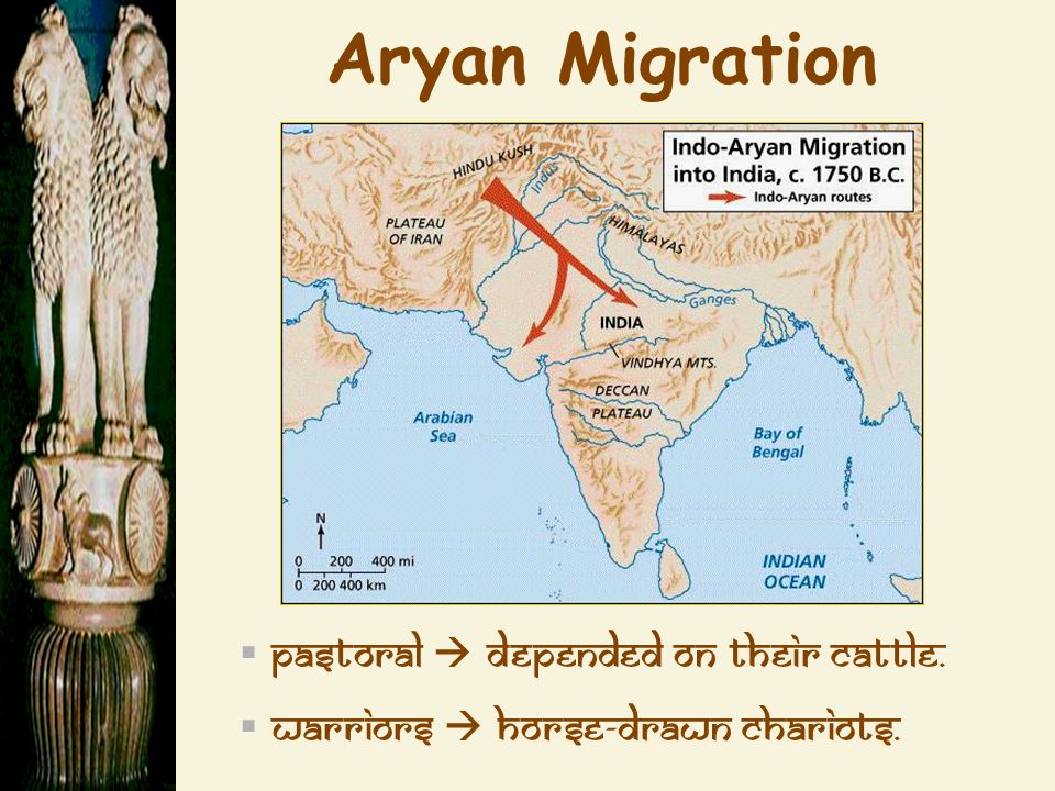 Aryan Migration  pastoral  depended on their cattle.  warriors  horse-drawn chariots.