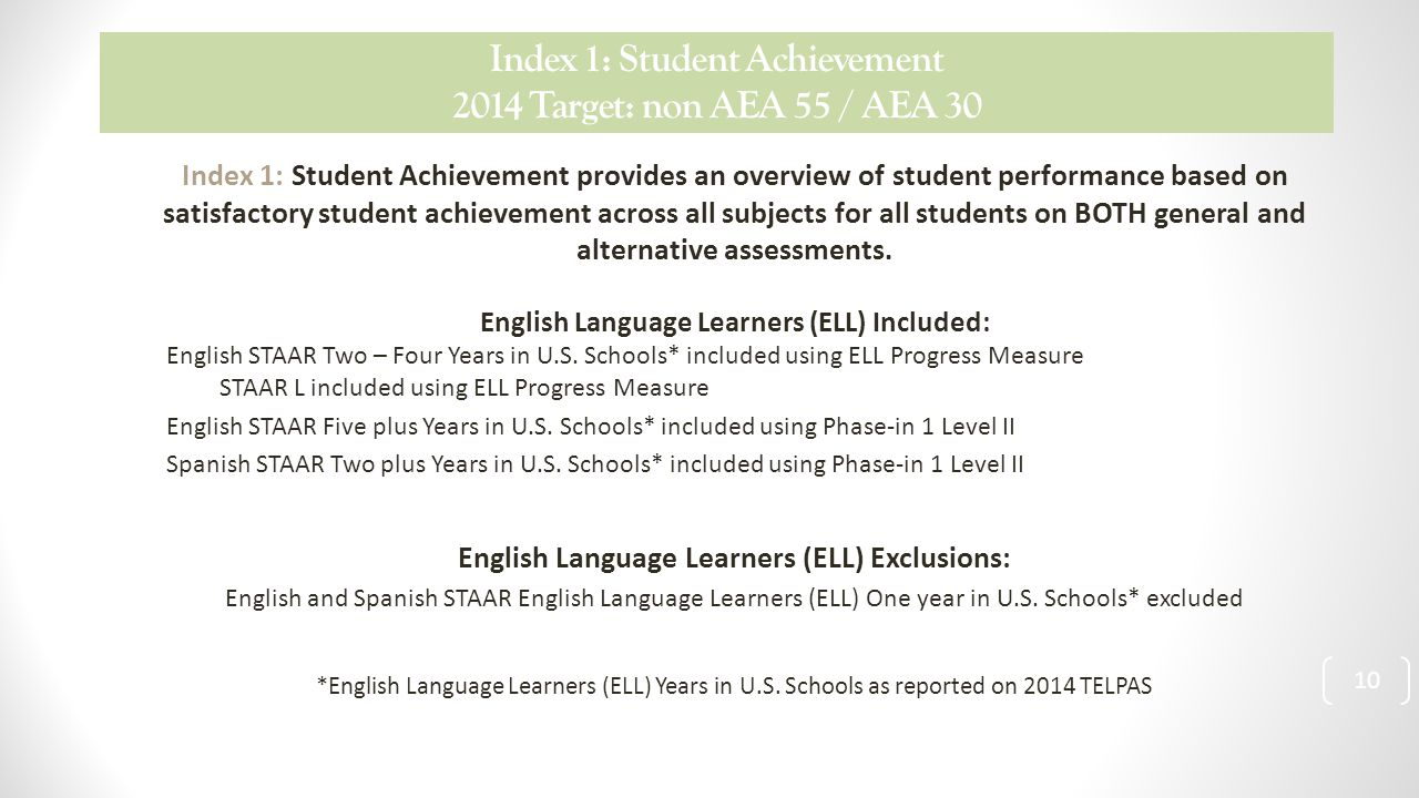 Index 1: Student Achievement 2014 Target: non AEA 55 / AEA 30 Index 1: Student Achievement provides an overview of student performance based on satisfactory student achievement across all subjects for all students on BOTH general and alternative assessments.