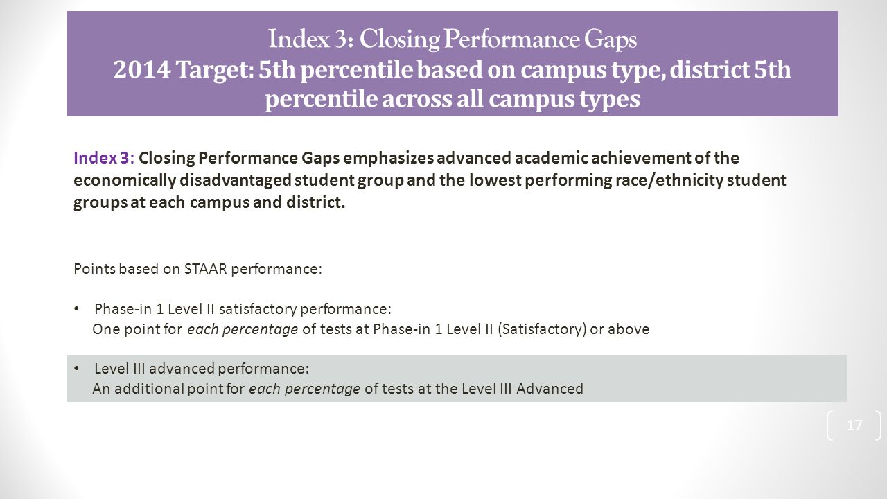 Index 3: Closing Performance Gaps 2014 Target: 5th percentile based on campus type, district 5th percentile across all campus types 17 Index 3: Closing Performance Gaps emphasizes advanced academic achievement of the economically disadvantaged student group and the lowest performing race/ethnicity student groups at each campus and district.