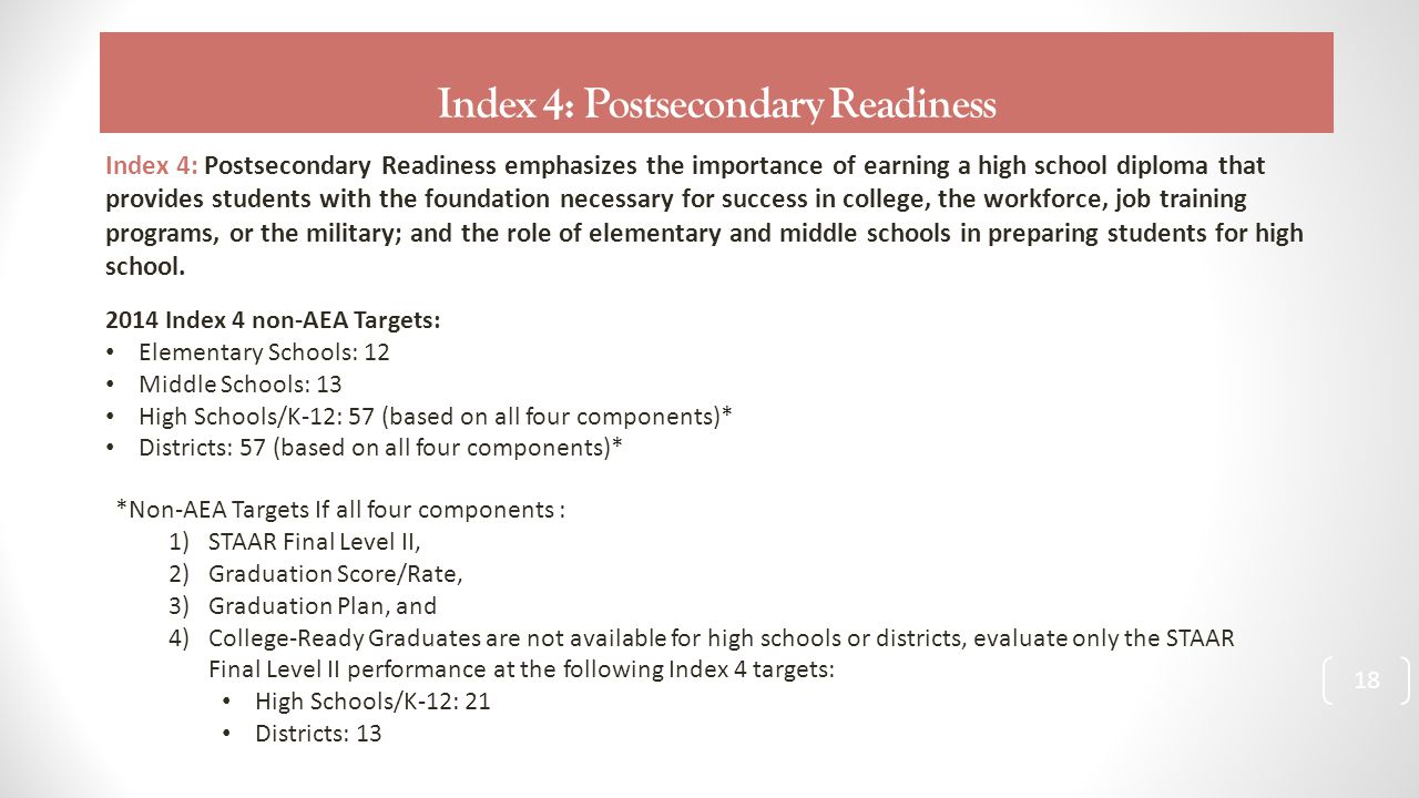 Index 4: Postsecondary Readiness 18 Index 4: Postsecondary Readiness emphasizes the importance of earning a high school diploma that provides students