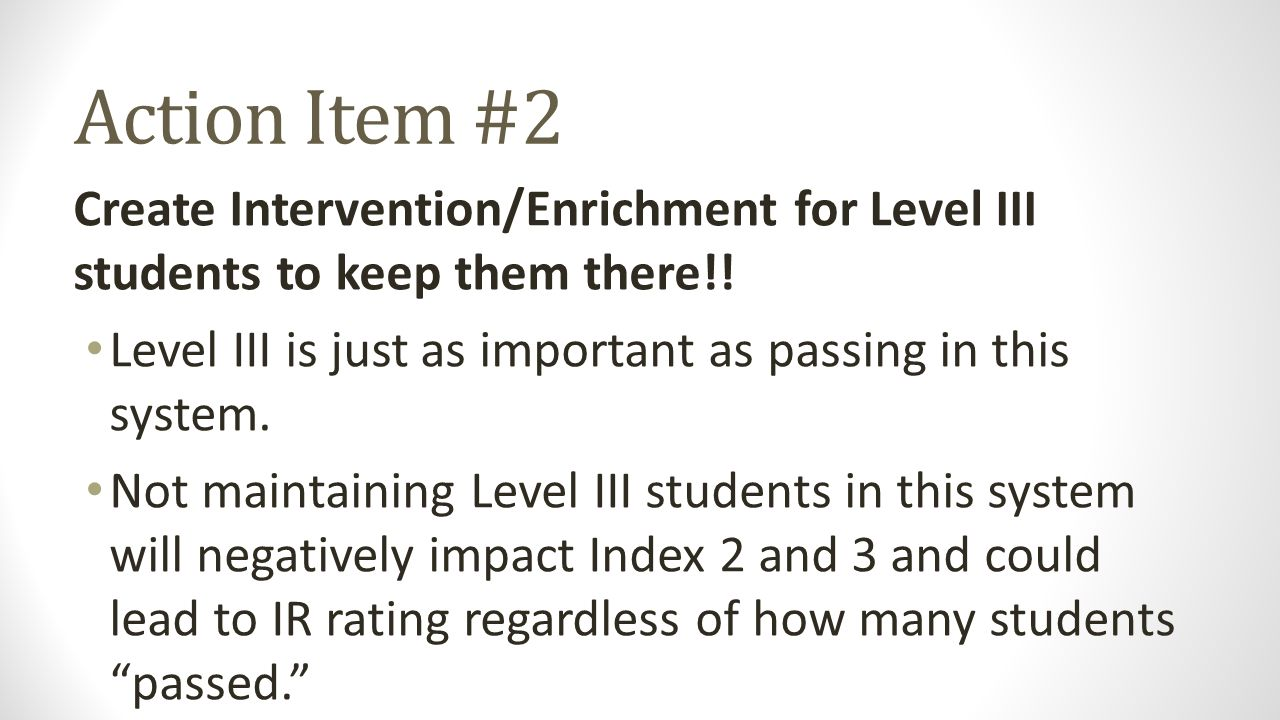 Action Item #2 Create Intervention/Enrichment for Level III students to keep them there!! Level III is just as important as passing in this system. No