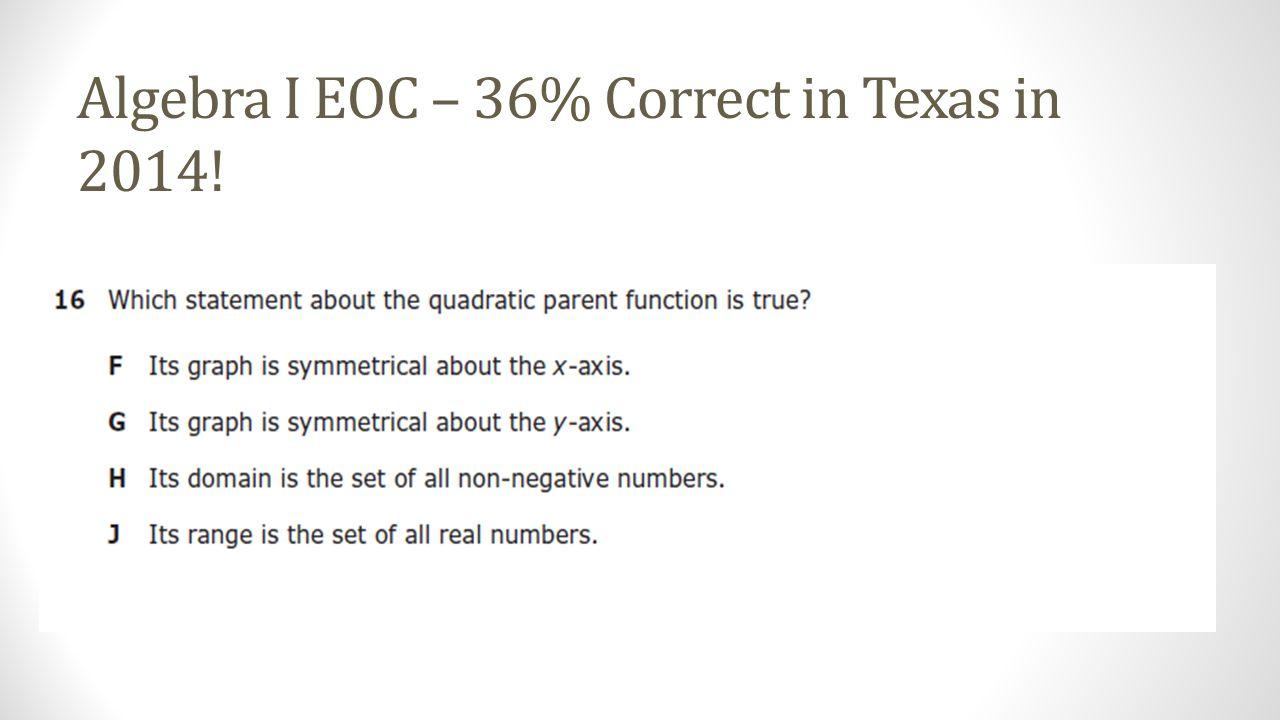 Algebra I EOC – 36% Correct in Texas in 2014!
