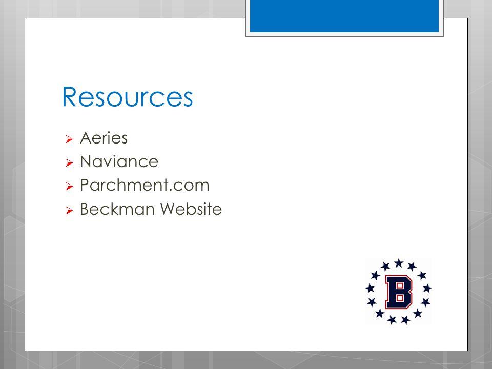Resources  Aeries  Naviance  Parchment.com  Beckman Website
