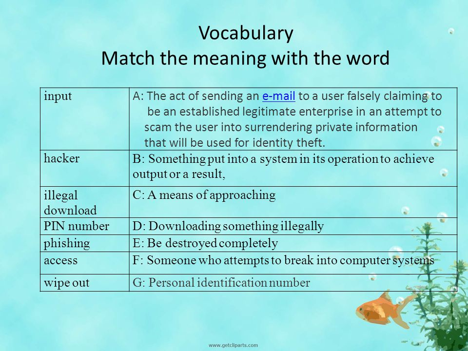 Vocabulary Match the meaning with the word input A: The act of sending an e-mail to a user falsely claiming toe-mail be an established legitimate enterprise in an attempt to scam the user into surrendering private information that will be used for identity theft.