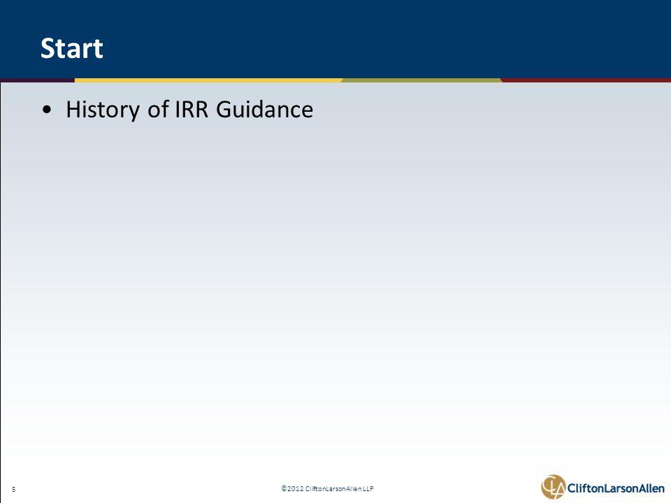 ©2012 CliftonLarsonAllen LLP 26 IRR Policy - 8 Required Elements 5.