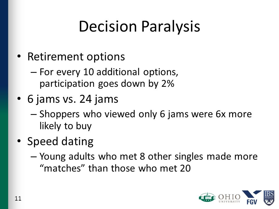 Decision Paralysis Retirement options – For every 10 additional options, participation goes down by 2% 6 jams vs.