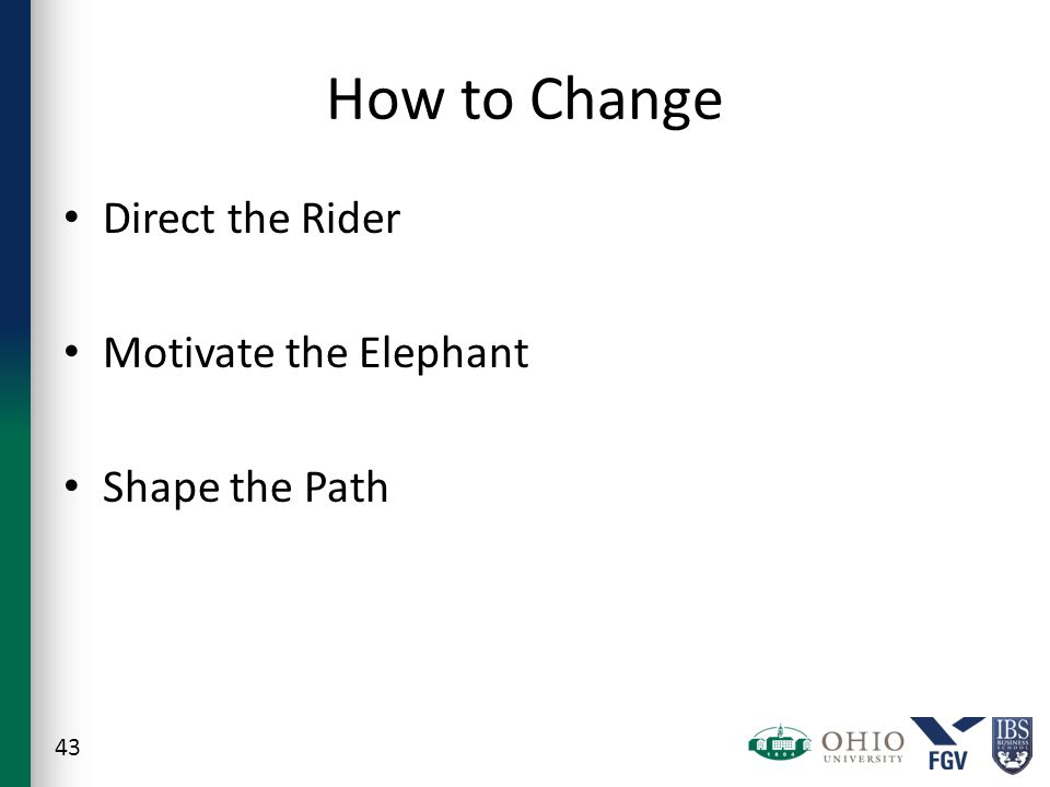 How to Change Direct the Rider Motivate the Elephant Shape the Path 43