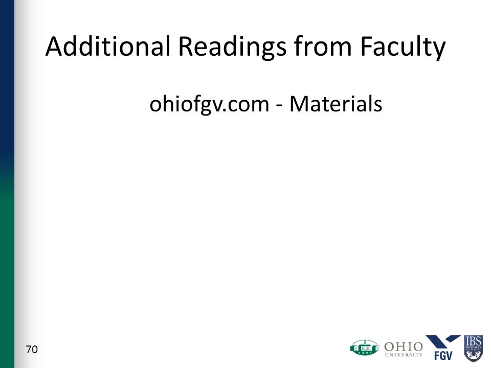 Additional Readings from Faculty ohiofgv.com - Materials 70