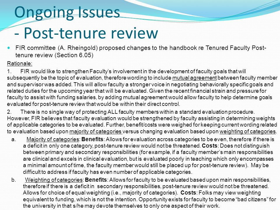 Ongoing Issues - Post-tenure review FIR committee (A.