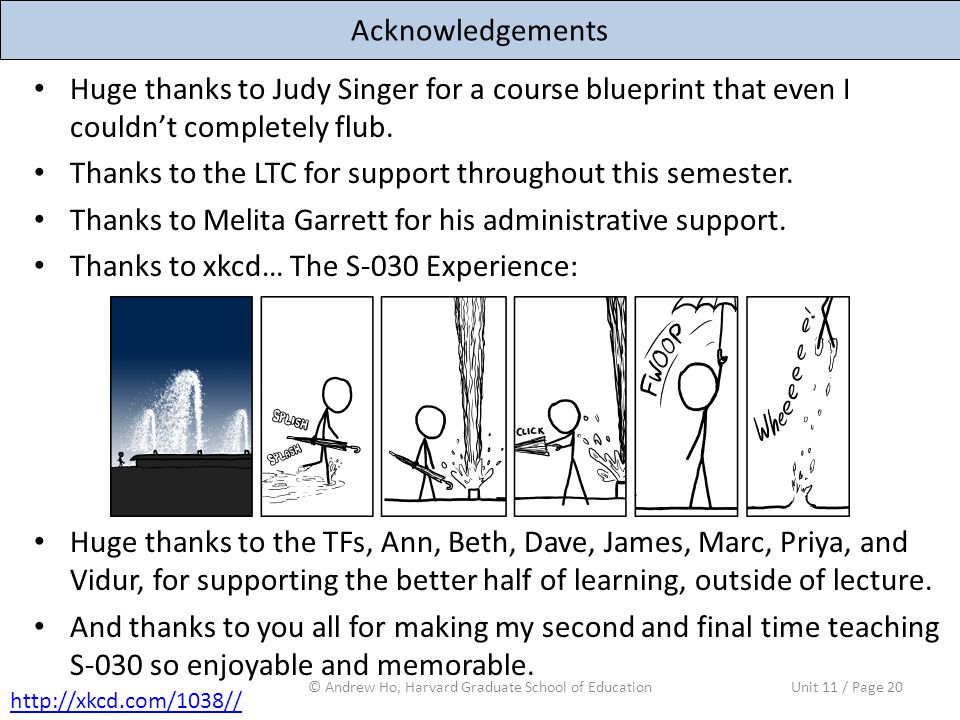 Acknowledgements Huge thanks to Judy Singer for a course blueprint that even I couldn't completely flub.