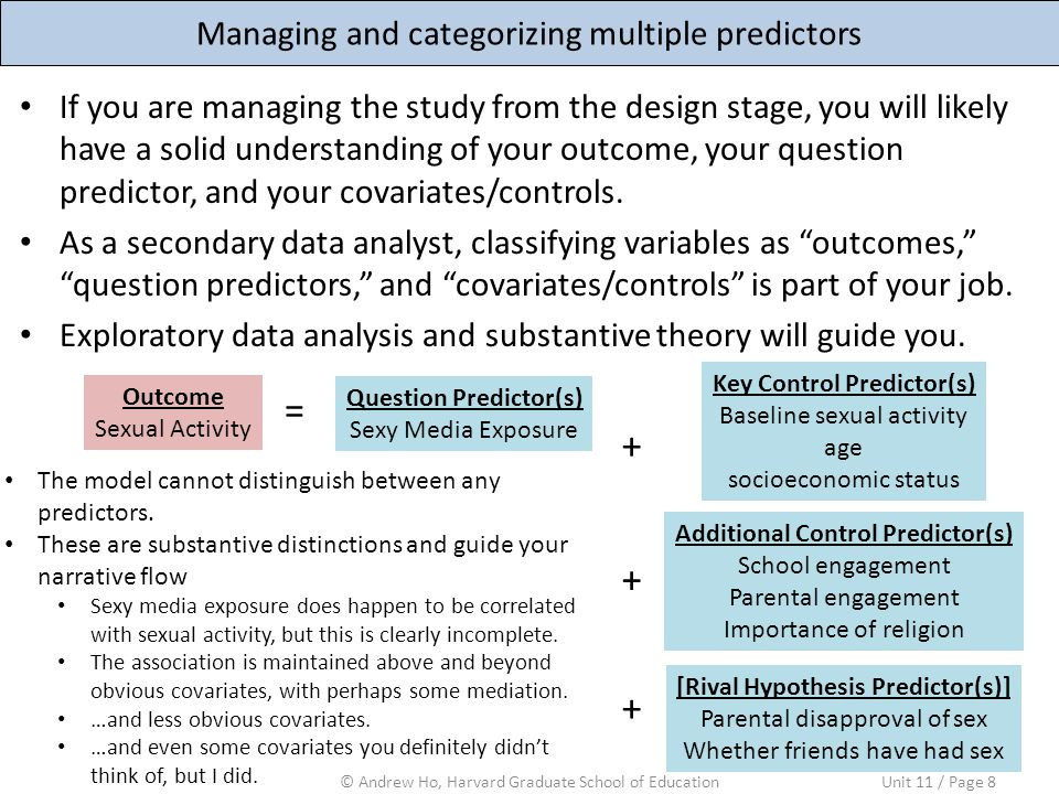 Managing and categorizing multiple predictors © Andrew Ho, Harvard Graduate School of EducationUnit 11 / Page 8 If you are managing the study from the design stage, you will likely have a solid understanding of your outcome, your question predictor, and your covariates/controls.