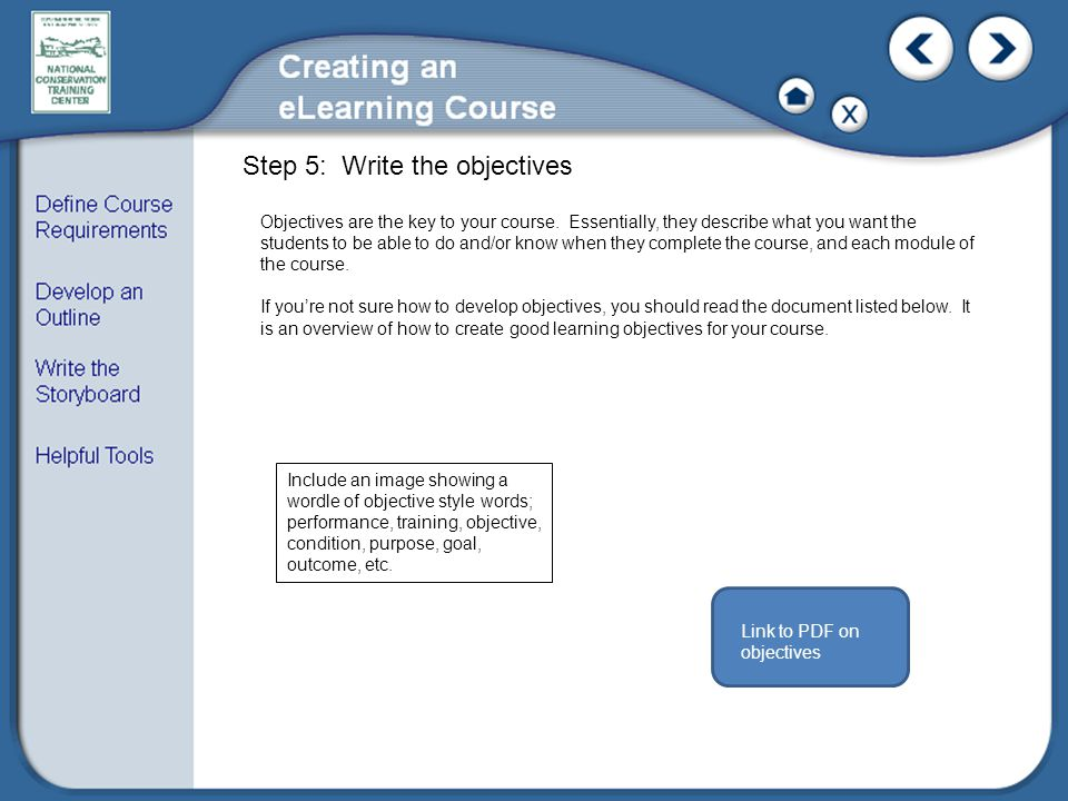 Objectives are the key to your course.