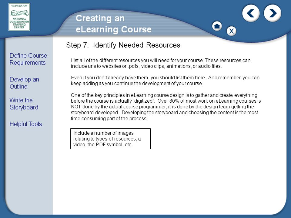 List all of the different resources you will need for your course.