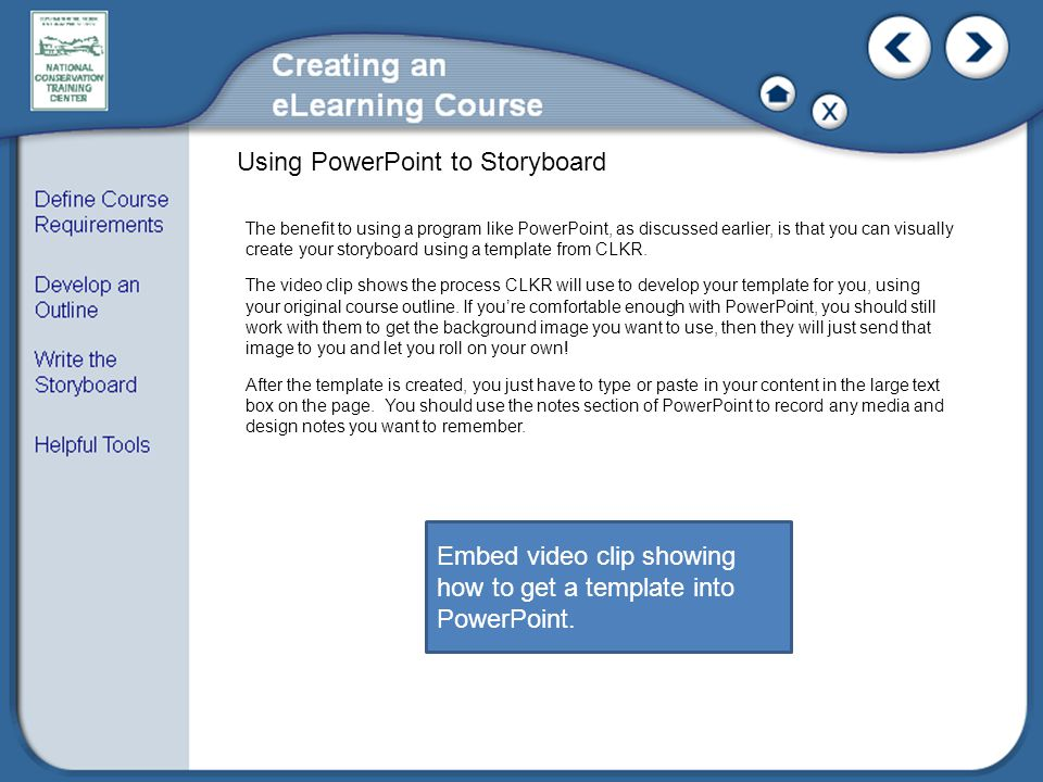 Embed video clip showing how to get a template into PowerPoint.