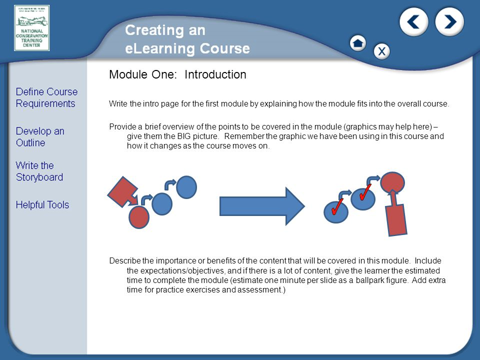 Module One: Introduction Write the intro page for the first module by explaining how the module fits into the overall course.
