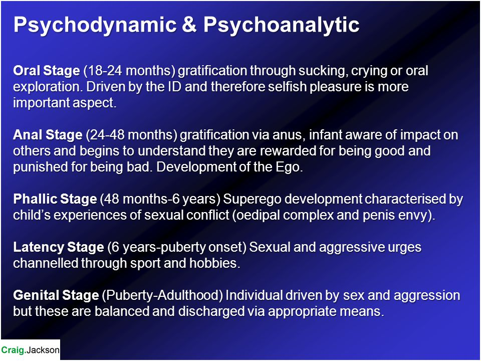 Psychodynamic & Psychoanalytic Oral Stage (18-24 months) gratification through sucking, crying or oral exploration.