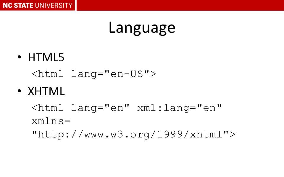 Language HTML5 XHTML