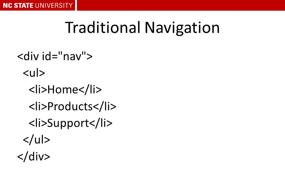Traditional Navigation Home Products Support