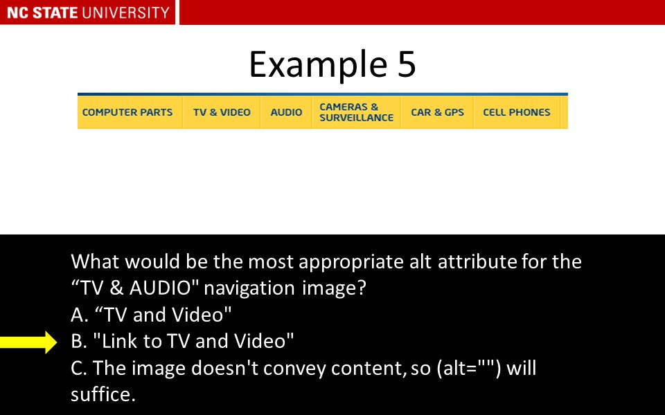 "Example 5 What would be the most appropriate alt attribute for the ""TV & AUDIO"