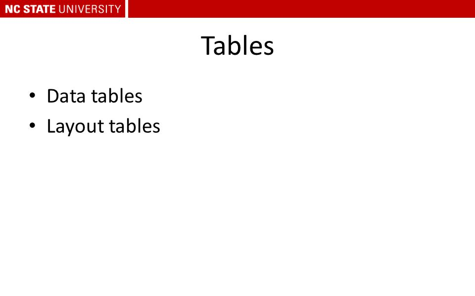 Tables Data tables Layout tables
