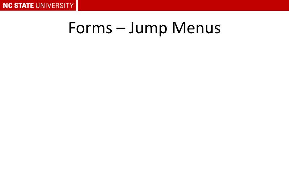 Forms – Jump Menus