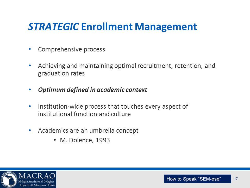 SEM Planning Model 17 STRATEGIC Enrollment Management Comprehensive process Achieving and maintaining optimal recruitment, retention, and graduation r