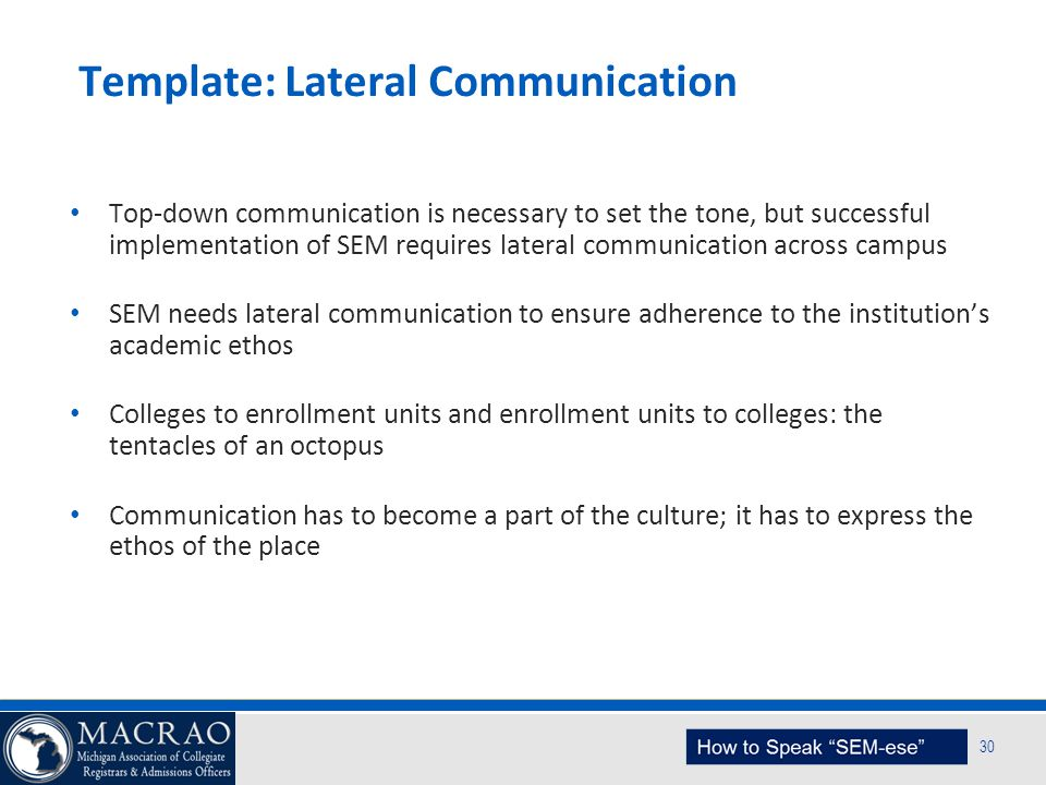 SEM Planning Model 30 Template: Lateral Communication Top-down communication is necessary to set the tone, but successful implementation of SEM requir