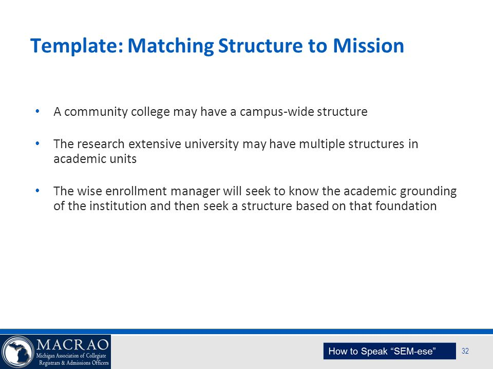 SEM Planning Model 32 Template: Matching Structure to Mission A community college may have a campus-wide structure The research extensive university m