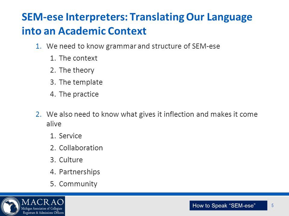 SEM Planning Model 5 SEM-ese Interpreters: Translating Our Language into an Academic Context 1.We need to know grammar and structure of SEM-ese 1.The