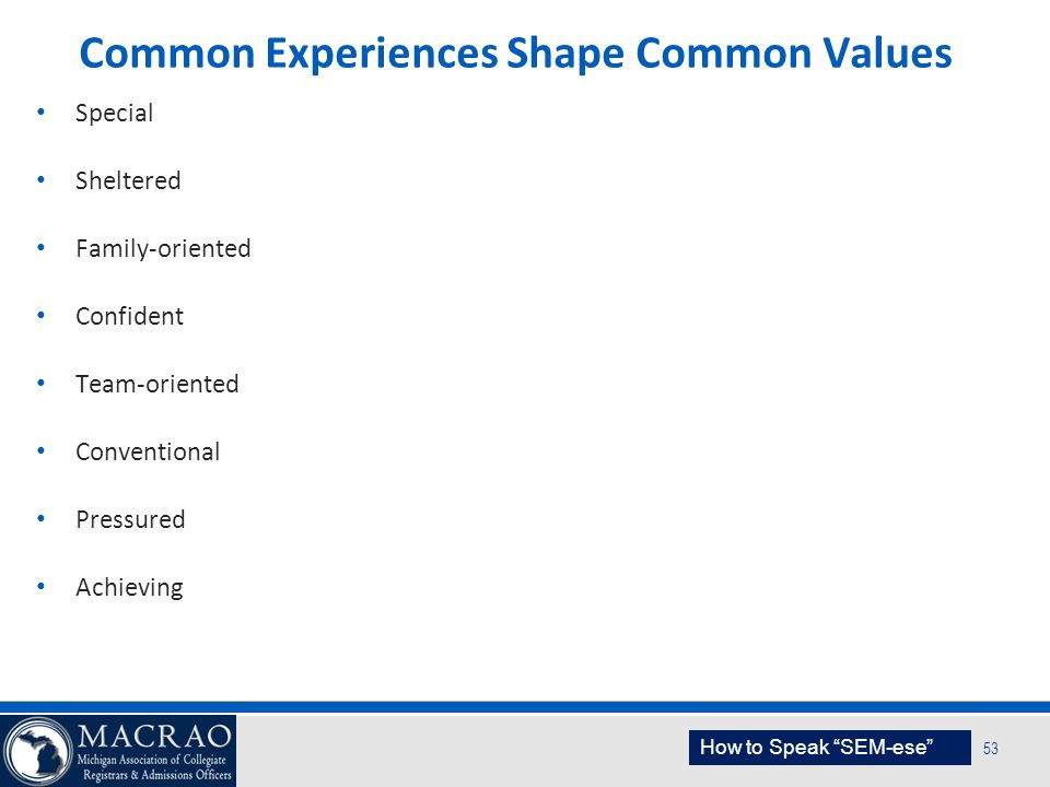 SEM Planning Model 53 Common Experiences Shape Common Values Special Sheltered Family-oriented Confident Team-oriented Conventional Pressured Achievin