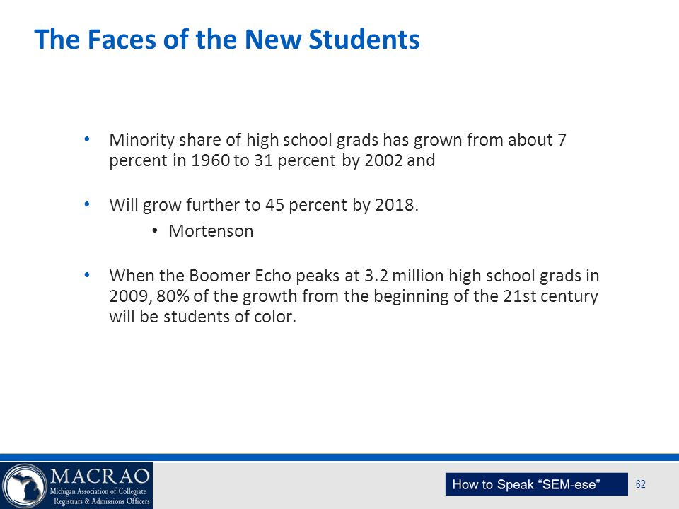 SEM Planning Model 62 The Faces of the New Students Minority share of high school grads has grown from about 7 percent in 1960 to 31 percent by 2002 a