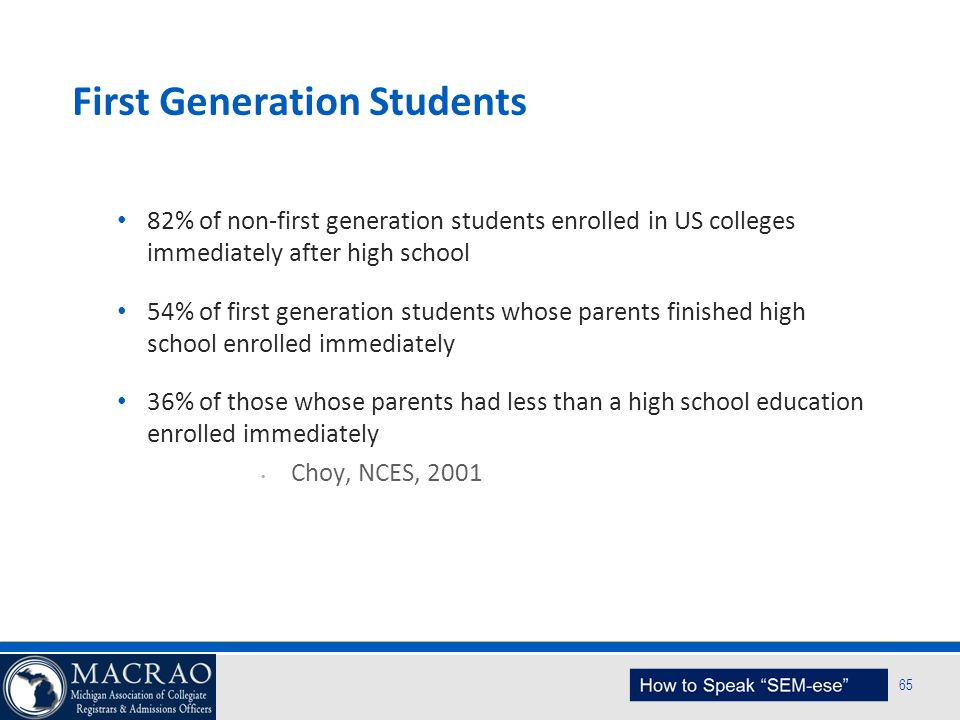 SEM Planning Model 65 First Generation Students 82% of non-first generation students enrolled in US colleges immediately after high school 54% of firs