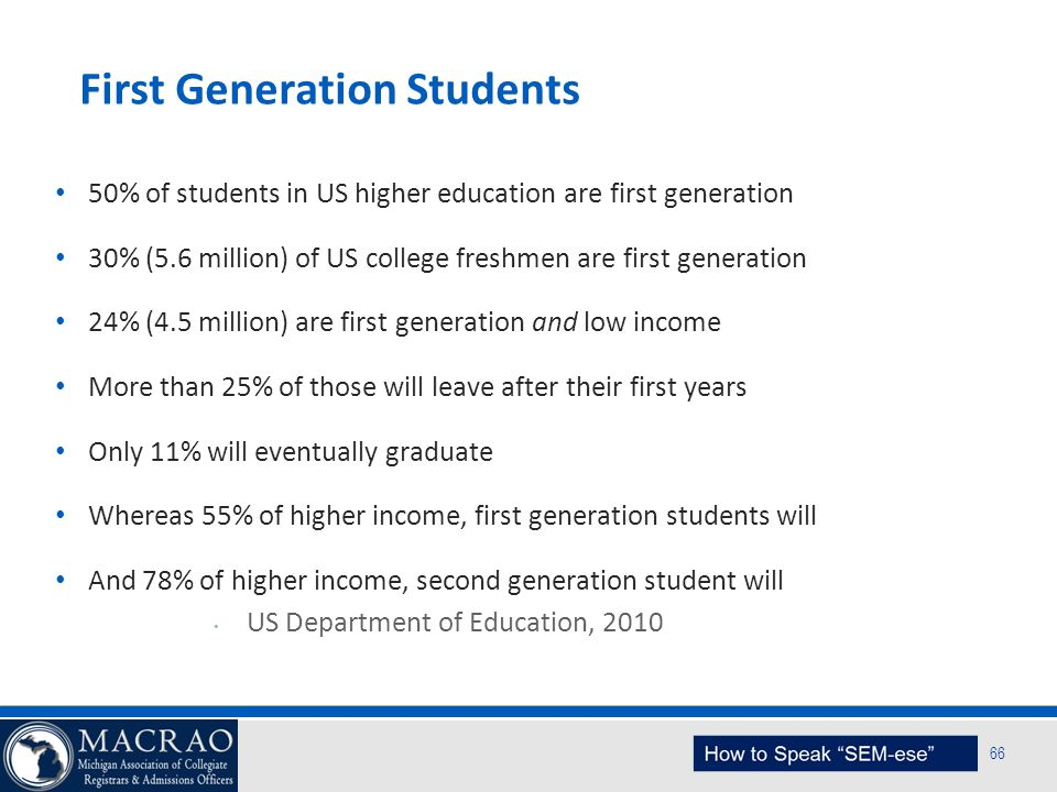 SEM Planning Model 66 First Generation Students 50% of students in US higher education are first generation 30% (5.6 million) of US college freshmen a