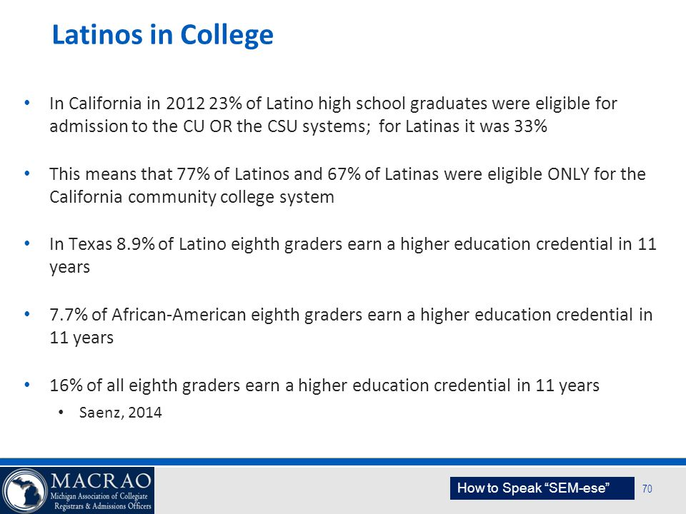 SEM Planning Model 70 Latinos in College In California in 2012 23% of Latino high school graduates were eligible for admission to the CU OR the CSU sy