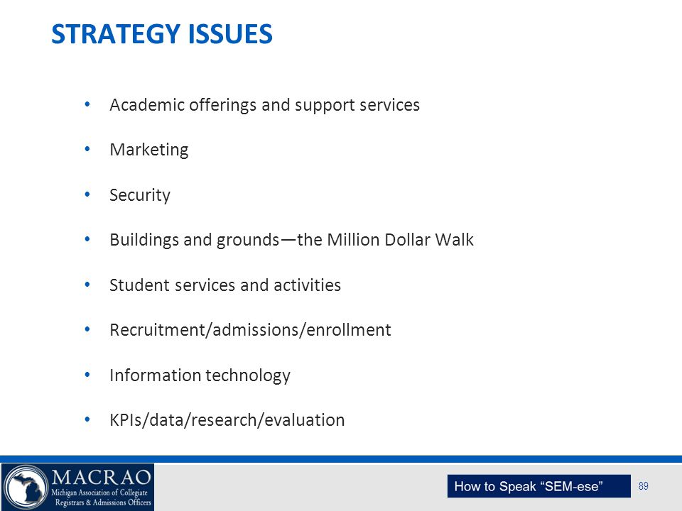 SEM Planning Model 89 STRATEGY ISSUES Academic offerings and support services Marketing Security Buildings and grounds—the Million Dollar Walk Student