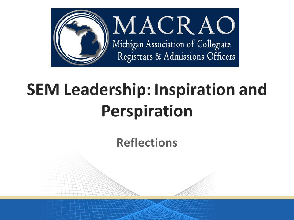SEM Leadership: Inspiration and Perspiration Reflections
