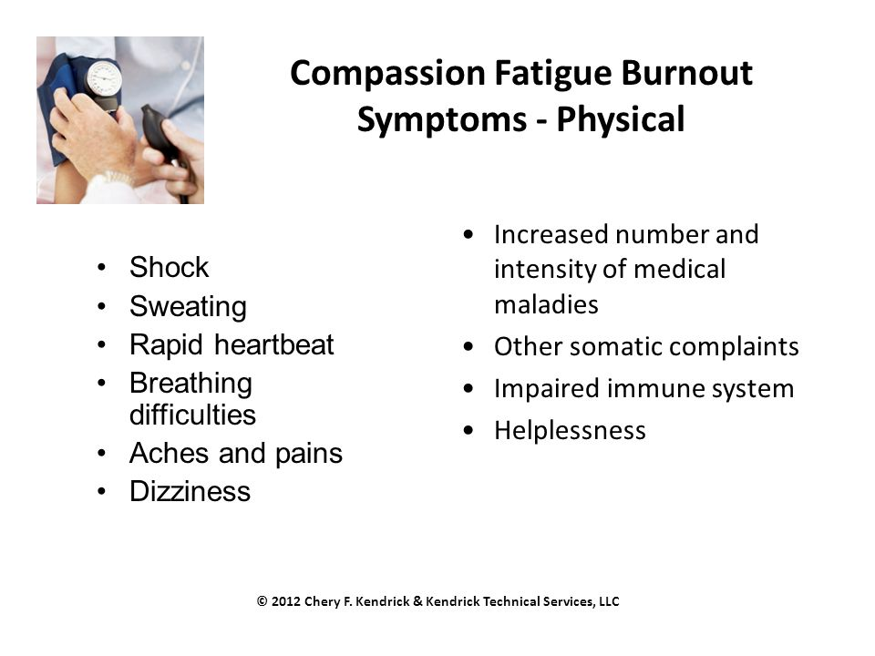 Compassion Fatigue Burnout Symptoms - Physical Shock Sweating Rapid heartbeat Breathing difficulties Aches and pains Dizziness Increased number and intensity of medical maladies Other somatic complaints Impaired immune system Helplessness © 2012 Chery F.