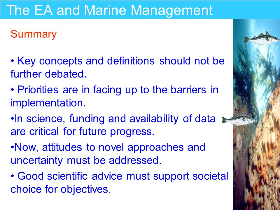 The EA and Marine Management Summary Key concepts and definitions should not be further debated.