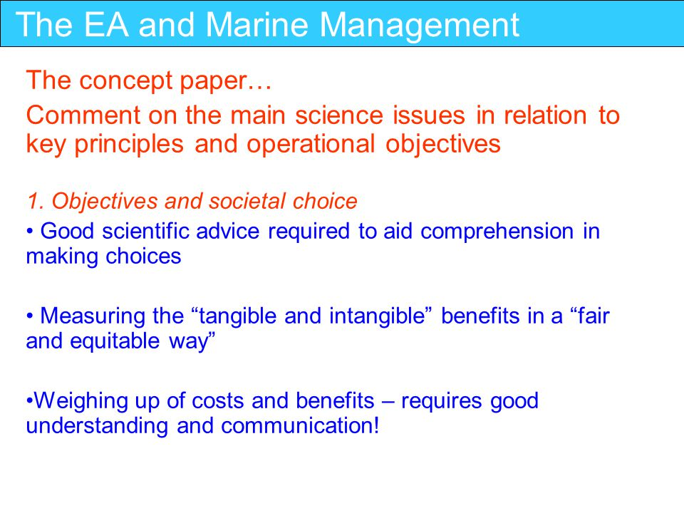 The EA and Marine Management 2.