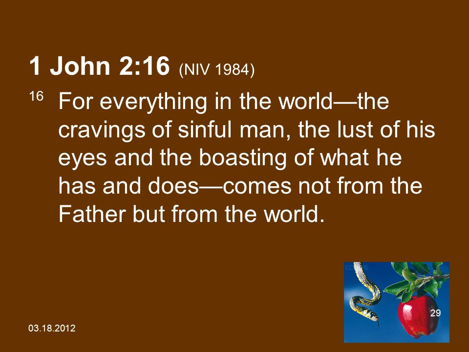 03.18.2012 29 1 John 2:16 (NIV 1984) 16 For everything in the world—the cravings of sinful man, the lust of his eyes and the boasting of what he has a