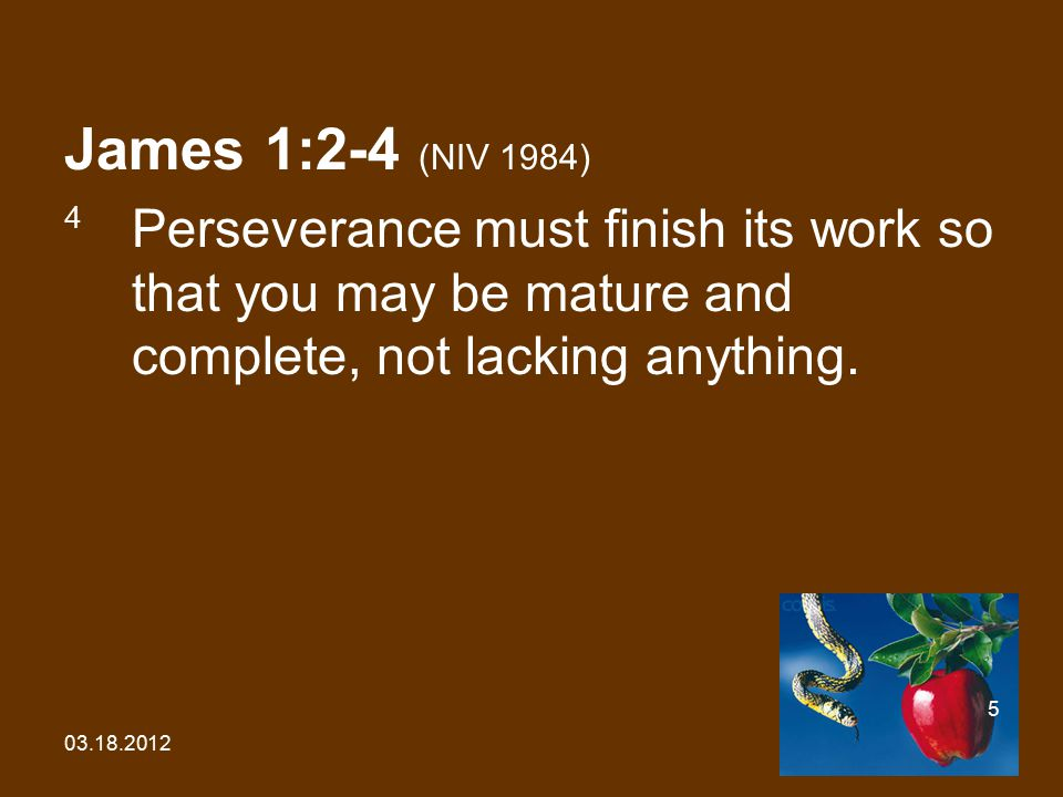 03.18.2012 5 James 1:2-4 (NIV 1984) 4 Perseverance must finish its work so that you may be mature and complete, not lacking anything.