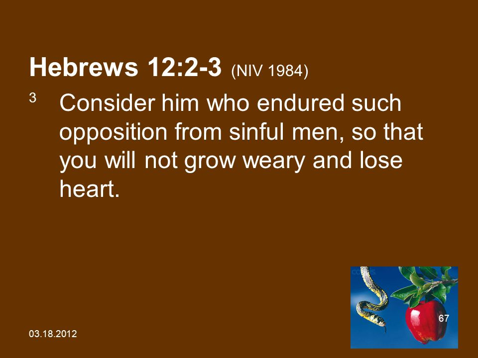 03.18.2012 67 Hebrews 12:2-3 (NIV 1984) 3 Consider him who endured such opposition from sinful men, so that you will not grow weary and lose heart.