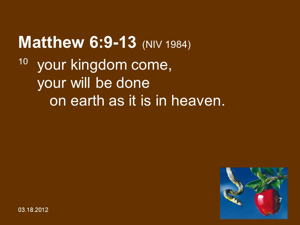 03.18.2012 18 Matthew 4:1-11 (NIV 1984) 7 Jesus answered him, It is also written: 'Do not put the Lord your God to the test.'