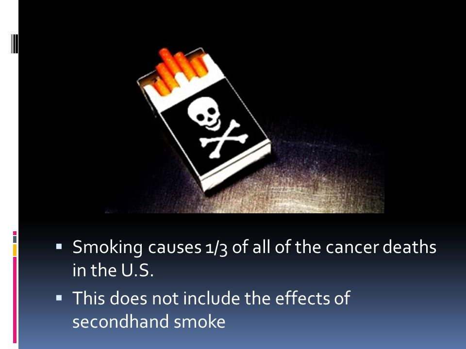  Smoking causes 1/3 of all of the cancer deaths in the U.S.  This does not include the effects of secondhand smoke