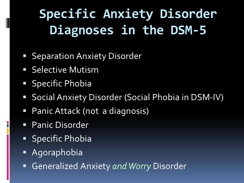 Specific Anxiety Disorder Diagnoses in the DSM-5  Separation Anxiety Disorder  Selective Mutism  Specific Phobia  Social Anxiety Disorder (Social