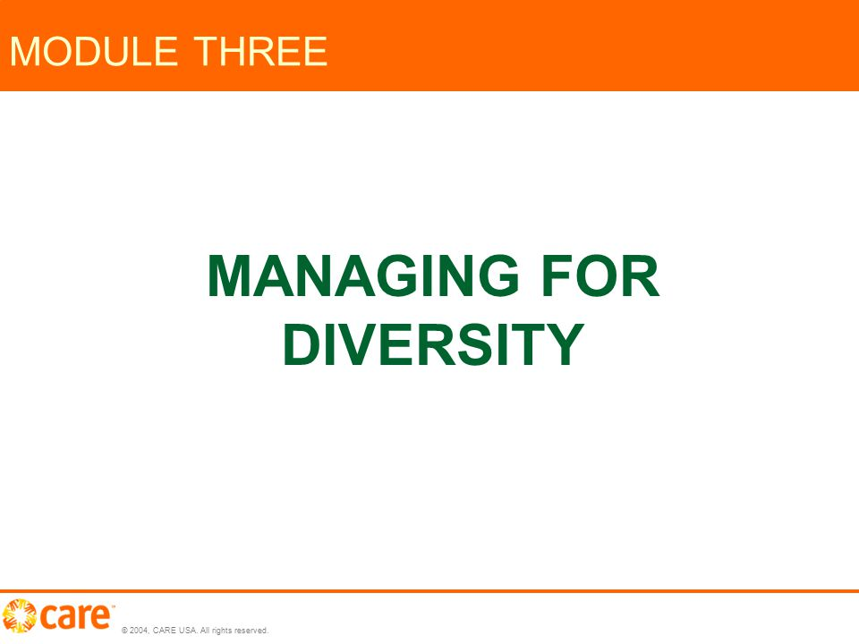 © 2004, CARE USA. All rights reserved. MODULE THREE MANAGING FOR DIVERSITY