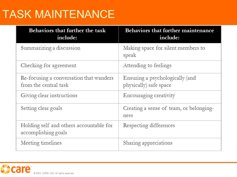 © 2004, CARE USA. All rights reserved. TASK MAINTENANCE Behaviors that further the task include: Behaviors that further maintenance include: Summarizi