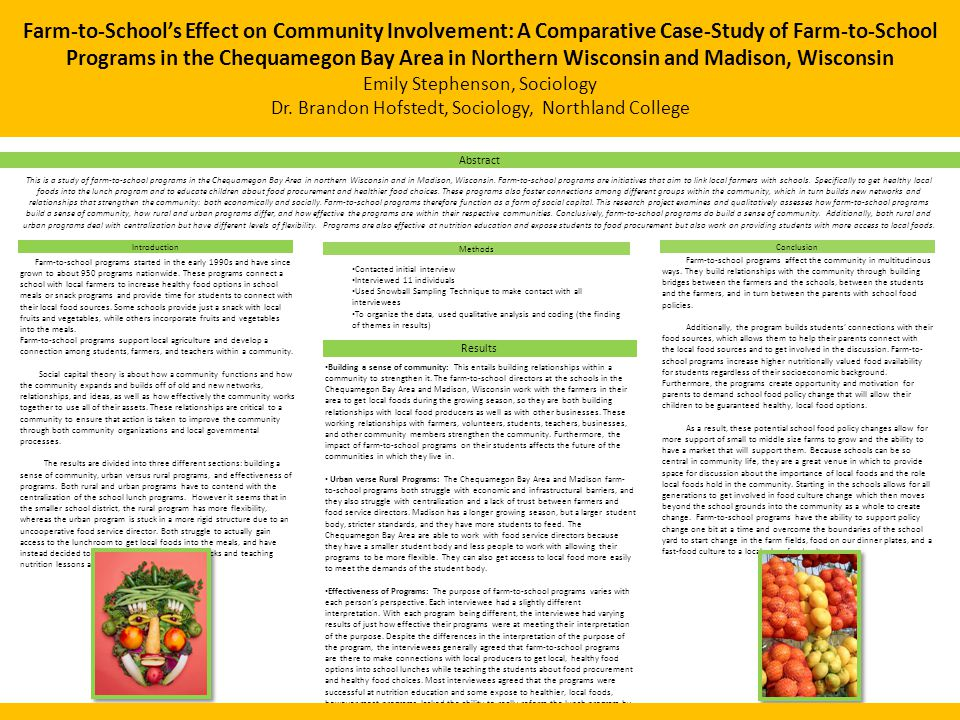 Farm-to-School's Effect on Community Involvement: A Comparative Case-Study of Farm-to-School Programs in the Chequamegon Bay Area in Northern Wisconsi