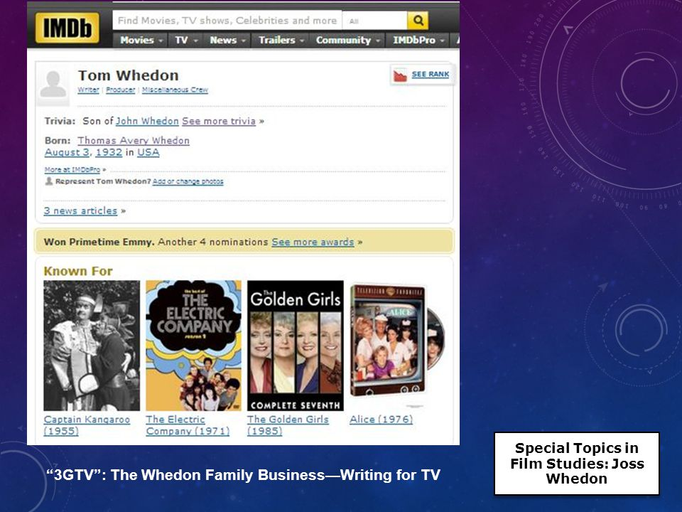 3GTV : The Whedon Family Business— Writing for TV Special Topics in Film Studies: Joss Whedon