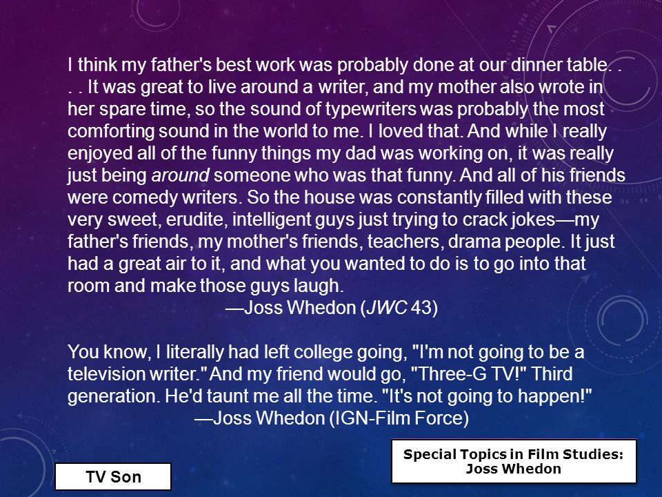 Television Writer Like his fellow WB showrunner Amy Sherman-Palladino (Gilmore Girls, 2000-2008), who would praise her time on Roseanne as instrumental to her own development,* Whedon would come away from his year with the Conners having learned a great deal.